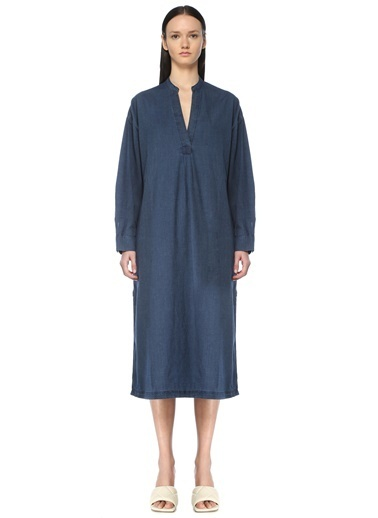 Beymen Collection Beymen Collection V Yaka Uzun Kol Midi Jean Elbise 101592708 Mavi